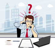 Unhappy business man talking on the phone with a q Stock Photo