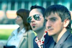 Unhappy Business Trio 2 Blue Tint stock photos