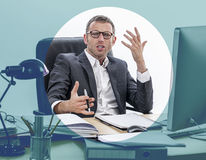 Unhappy businessman expressing misunderstanding and complain, focusing effects Royalty Free Stock Photo