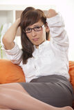 Unhappy businesswoman Stock Photo