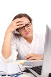 Unhappy businesswoman  in office Royalty Free Stock Images