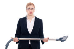 Unhappy businesswoman with vacuum cleaner Royalty Free Stock Photos