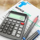 Unhappy calculator because of invoice. 3d rendering Royalty Free Stock Photo