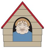 In the Dog House. An unhappy cartoon man has gotten into trouble and found himself in the dog house Royalty Free Stock Photos
