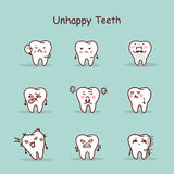 Unhappy cartoon tooth set. Great for your design Royalty Free Stock Photos