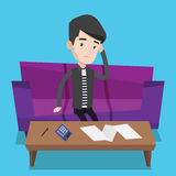 Unhappy caucasian man accounting home bills. Royalty Free Stock Photos