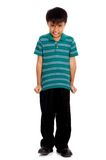 Unhappy child. Feeling uncomfortable with his shirt Royalty Free Stock Photography
