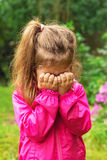Unhappy Child is crying outdoors Royalty Free Stock Photo