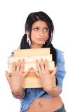 Unhappy college girl with books Stock Image