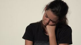 Unhappy Confused Cute Teen Girl. A young pretty Colombian teen girl stock video
