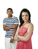 Unhappy couple with focus on woman Stock Image