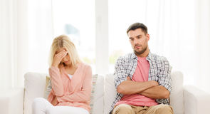 Unhappy couple having argument at home Stock Photography