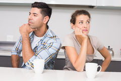 Unhappy couple having coffee not speaking Stock Images