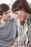 Unhappy couple at home Royalty Free Stock Images