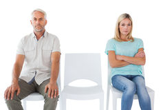 Unhappy couple not speaking to each other Royalty Free Stock Photos