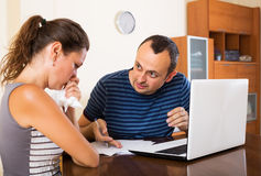 Unhappy customer complains to agent Stock Photography