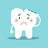 Unhappy cute cartoon tooth character with with dental caries, dental vector Illustration for kids. On a light blue background Stock Photos