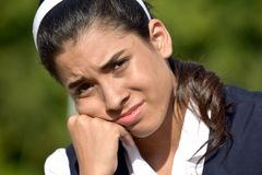 Unhappy Cute Colombian Girl royalty free stock photo
