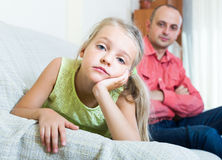 Unhappy daughter quarrelling with father Stock Photos