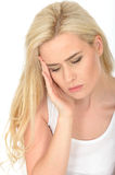 Unhappy Depressed Tired Thoughtful Young Woman Looking Stressed and Anxious Stock Photo