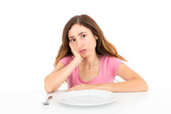 Unhappy diet woman Royalty Free Stock Photo