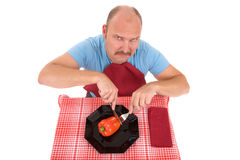 Unhappy dieting man Stock Image