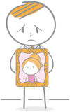 Grieving. Doodle illustration of grieving man holding photo frame Royalty Free Stock Images