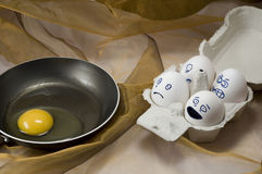 Unhappy eggs Stock Photography