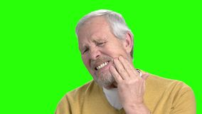 Unhappy elderly man having toothache. Senior man in casual wear suffering from toothache, chroma key background stock footage