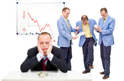 Unhappy employees. Three unhappy employees, angry at their indecicive boss, in front of a whiteboard showing a negative graph, representing the state of a Royalty Free Stock Photo