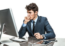 Unhappy entrepreneur dissatisfied with his profit, income, earnings, gain, benefit, margin Stock Photo