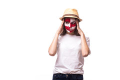 Unhappy and Failure of goal or lose game emotions of  Croatian football fan Stock Image