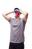 Unhappy and Failure of goal or lose game emotions of  Czech football fan Stock Photo