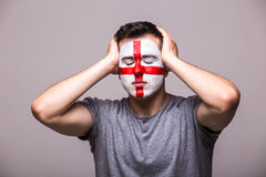 Unhappy and Failure of goal or lose game emotions of  Englishman football fan Stock Images