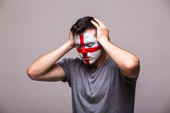 Unhappy and Failure of goal or lose game emotions of  Englishman football fan Stock Photos