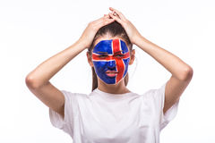 Unhappy and Failure of goal or lose game emotions of  Icelander football fan in game supporting of Iceland national team Stock Image