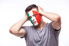 Unhappy and Failure of goal or lose game emotions of  Italian football fan Stock Photo
