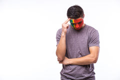 Unhappy and Failure of goal or lose game emotions of  Portuguese football fan Stock Images