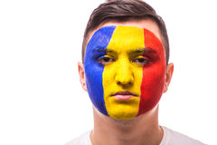 Unhappy and Failure of goal or lose game emotions of Romanian football fan in game supporting of Romania national team Royalty Free Stock Image