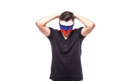 Unhappy and Failure of goal or lose game emotions of  Russian football fan in game supporting of Russia national team Royalty Free Stock Image