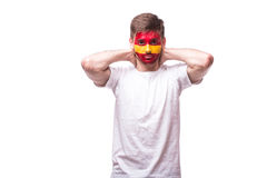 Unhappy and Failure of goal or lose game emotions of Spain football Royalty Free Stock Photography