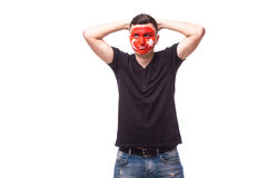 Unhappy and Failure of goal or lose game emotions of Turk football fan in game supporting of Turkey Royalty Free Stock Image