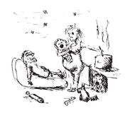 Unhappy family. Black and white illustration of stressed family Stock Photo