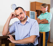 Unhappy family having domestic quarrel Stock Photos