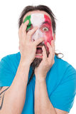 Unhappy Fan from the national Team of Italy smearing the Flag ab Stock Image