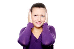 Unhappy female face with negative emotions Royalty Free Stock Image