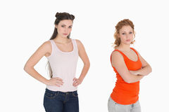 Unhappy female friends not talking after argument Stock Photography