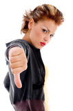 Unhappy female showing thumbs down Stock Photo