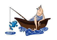 Unhappy fisherman. And happy fish dancing on fish line Royalty Free Stock Photography
