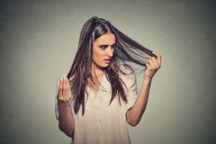 Unhappy frustrated young woman surprised she is losing hair. Closeup unhappy frustrated young woman surprised she is losing hair, receding hairline. Gray Stock Images
